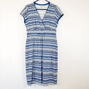 Boden V-neck Dress Size 10 Blue & White